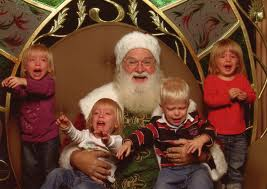 child screaming on Santa's lap, Chirstmas