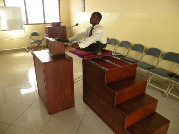 LDS Senior Missionary Serving in Ghana Builds Pulpit for Paralyzed Branch President