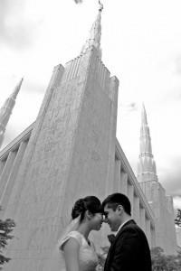 A newlywed couple outside the Portland temple