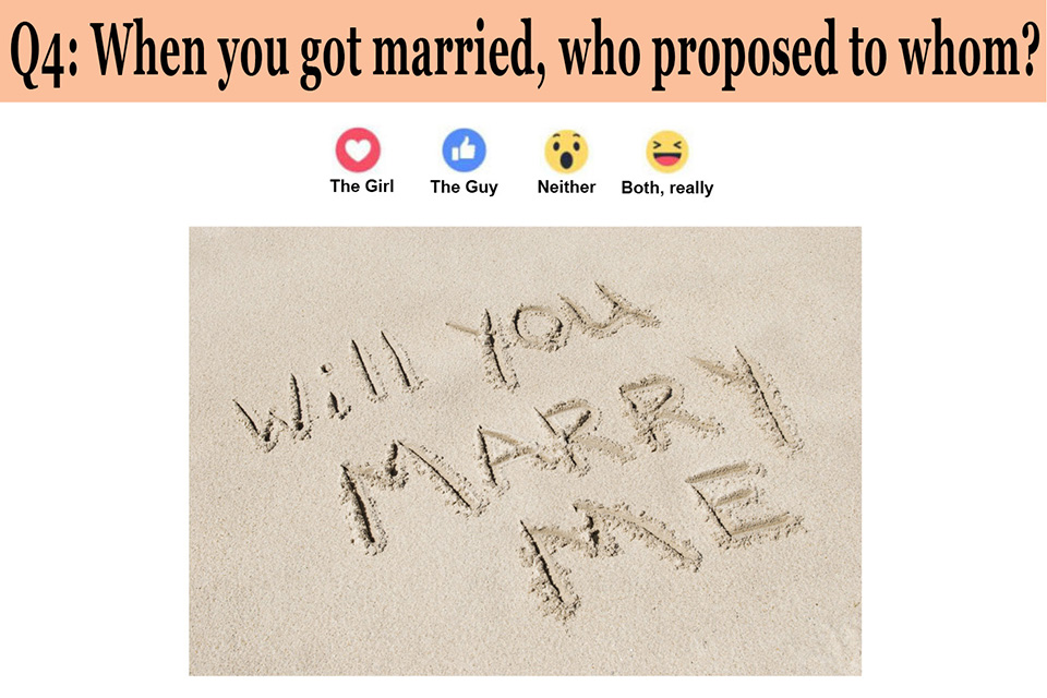 When you got married, who proposed to whom?