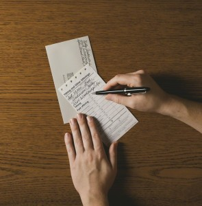 Filling out a tithing slip