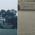 Floodwater Breaches Houston Temple – Man Raising His Hand in Front of Temple Demonstrating the Depth of the Waters There